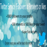 1000 Twitter followers or 500 Retweets or likes Fast delivery