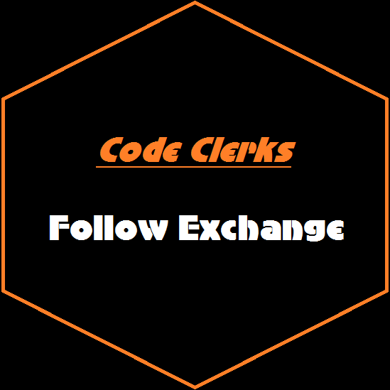 Follow Me Here On Code Clerks & I WIll Follow You Back!