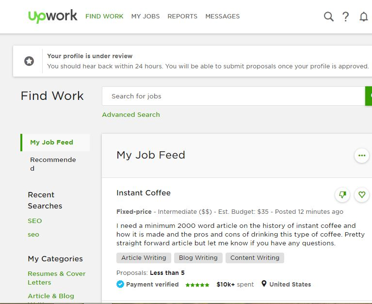 Upwork Profile approval